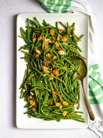 green bean almondine in a serving dish