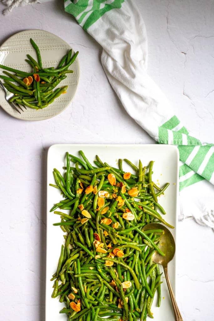 green bean almondine in a serving dish