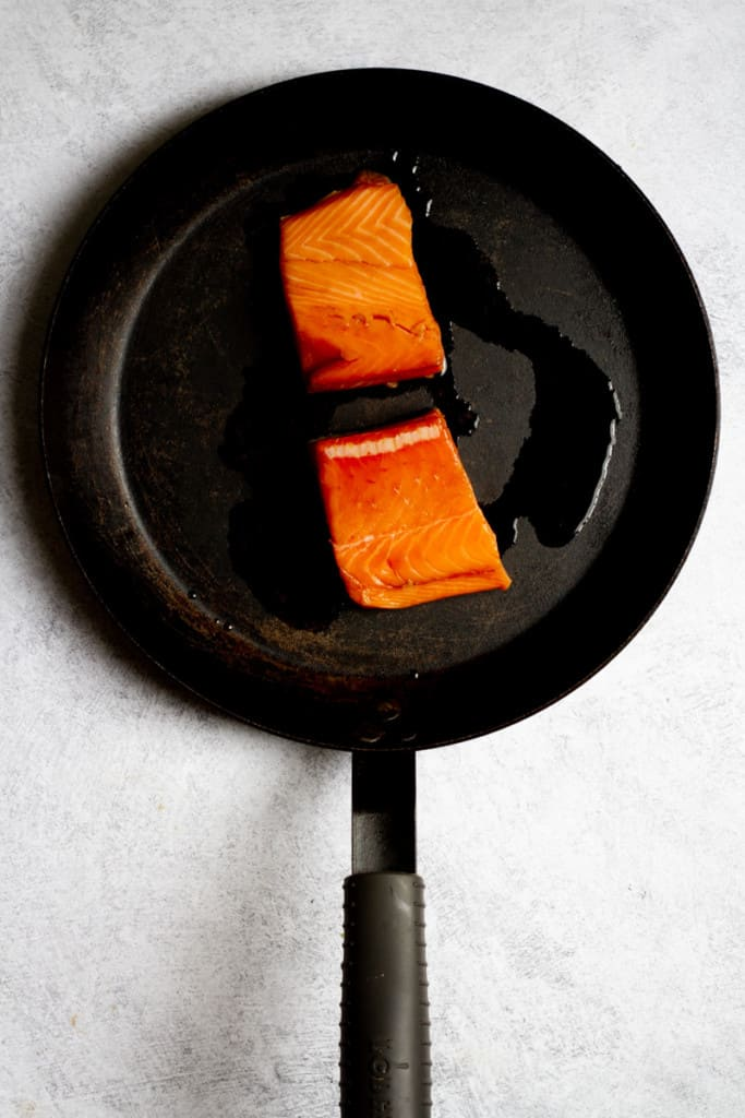 Place Salmon in an Oiled Oven-Safe Pan