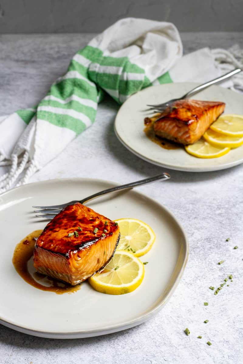 honey bourbon salmon on plates