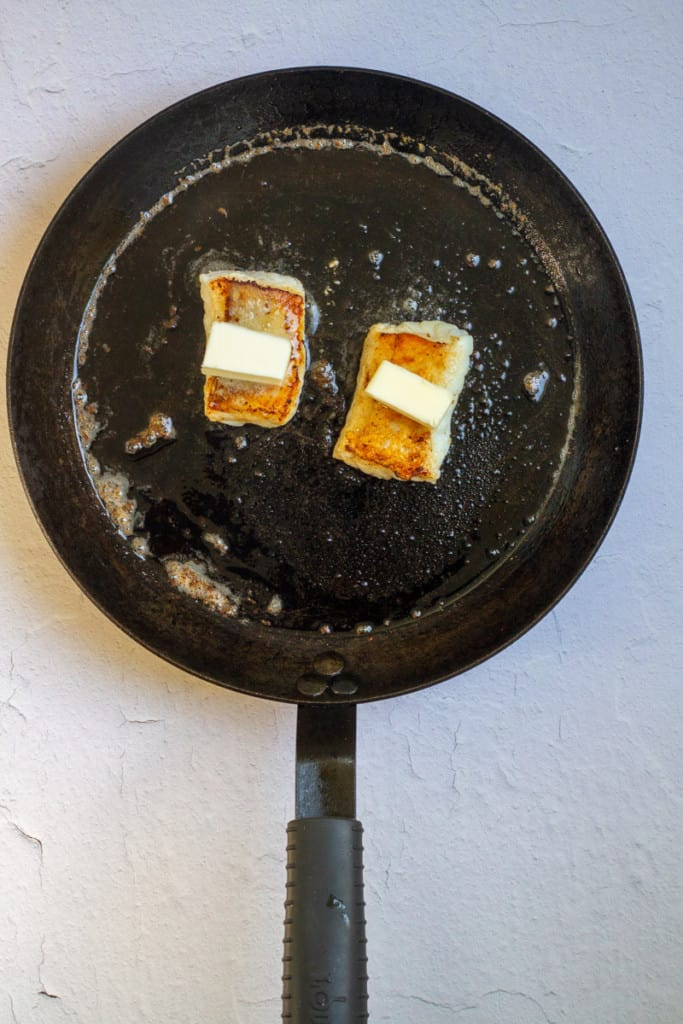 Flip Lingcod + Top with Butter