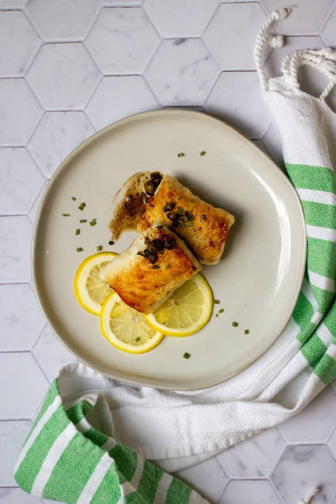 pan-seared lingcod on a plate (lingcod recipe)