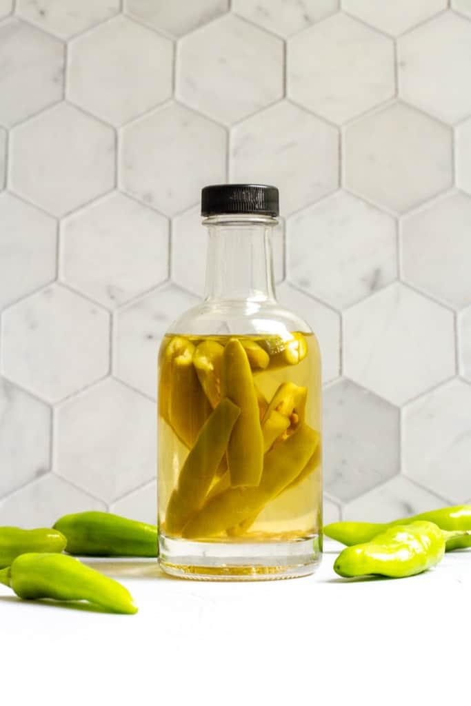 hot pepper vinegar in a bottle