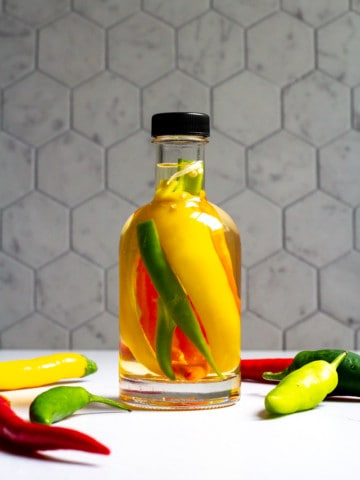 hot pepper vinegar in a bottle