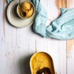 pumpkin pie ice cream in serving bowls