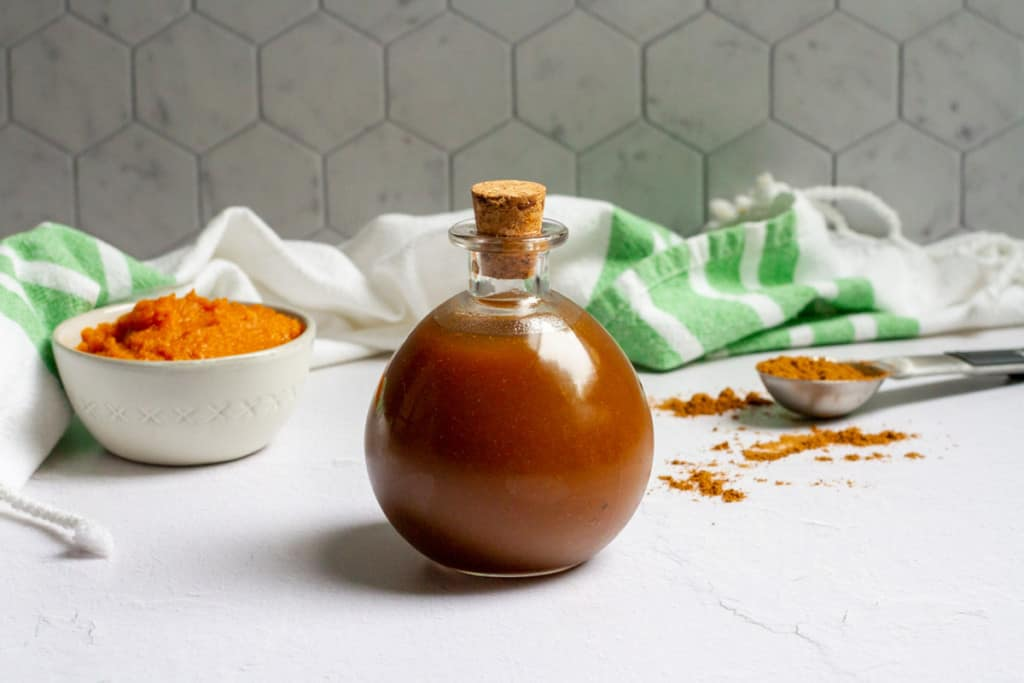 pumpkin spice simple syrup in a bottle
