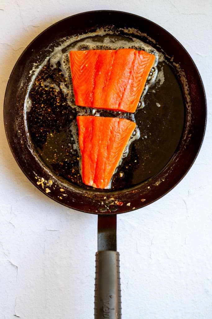 Add Salmon to the Hot Pan