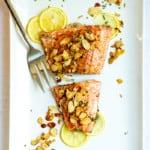 salmon almondine on a serving platter