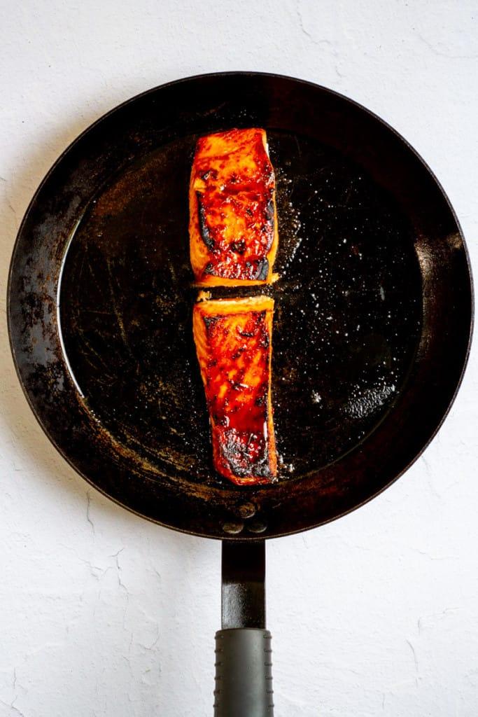 Brush Sweet Chili Glaze on the Salmon