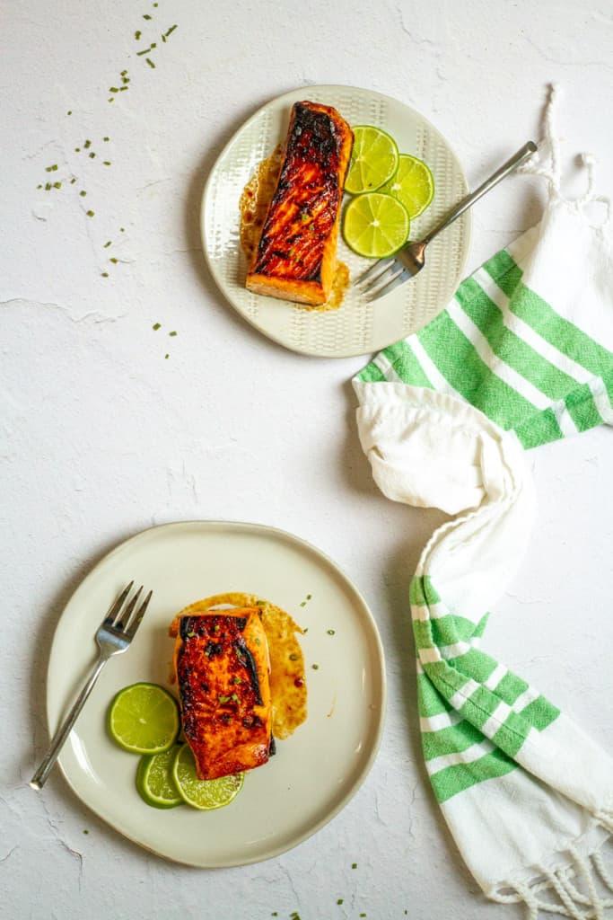 Sweet Chili Glazed Salmon on Plates