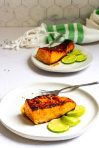 Sweet Chili Glazed Salmon on Plates