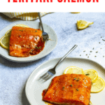 This teriyaki glazed salmon is made with baked fish and a homemade teriyaki sauce. It's a quick and easy fish dinner ready in about thirty minutes!