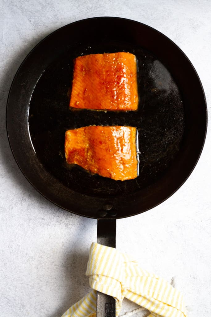 Brush Salmon with Teriyaki Sauce to Glaze