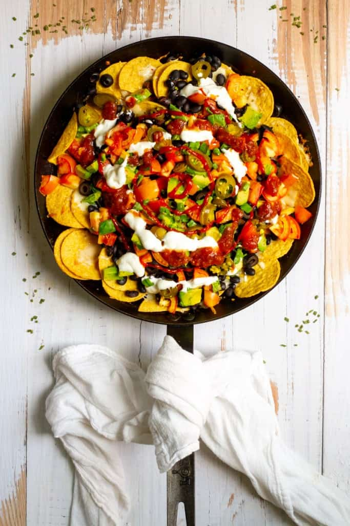 black bean nachos in a pan