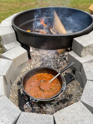 Campfire chili in a dutch oven