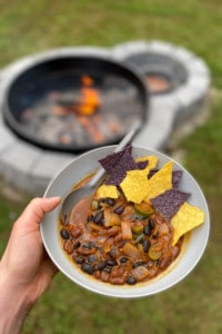 Campfire Chili in a bowl with tortilla chips