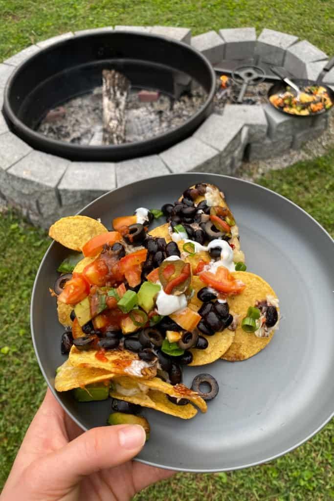 campfire nachos on a plate