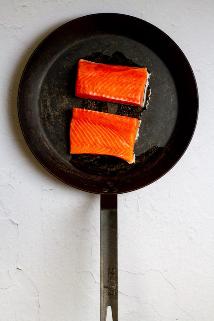 Add Salmon to an Oiled Pan