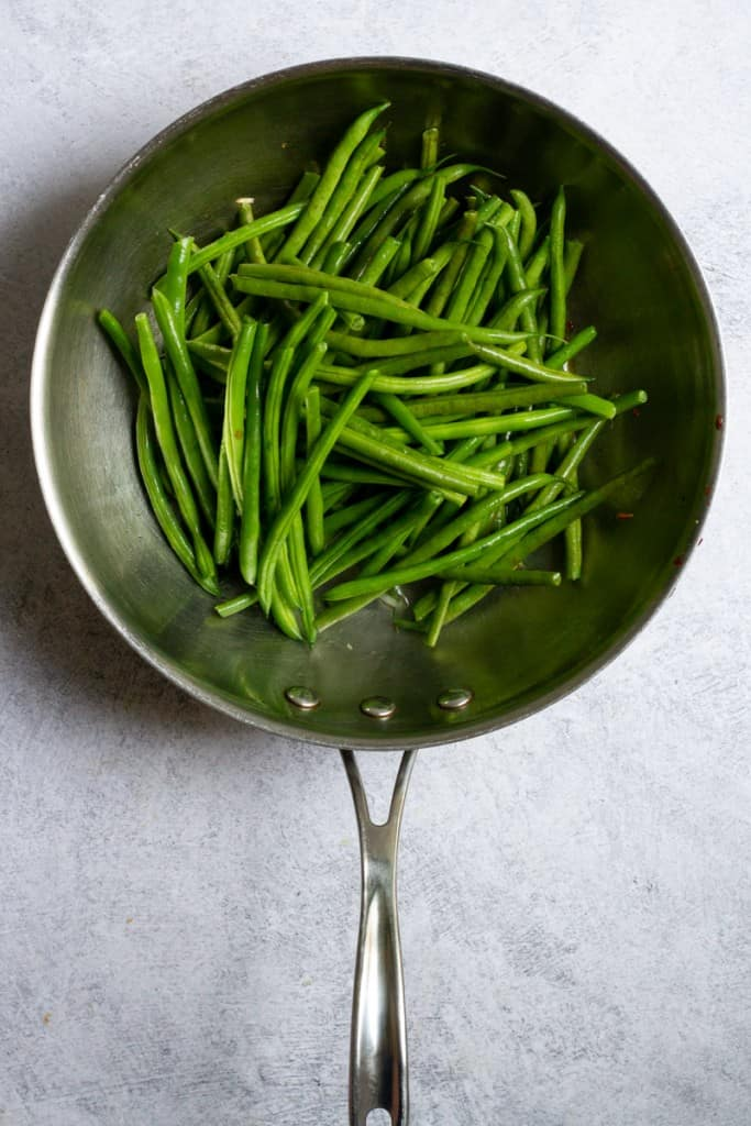 Add Hericots Verts to Pan with Garlic