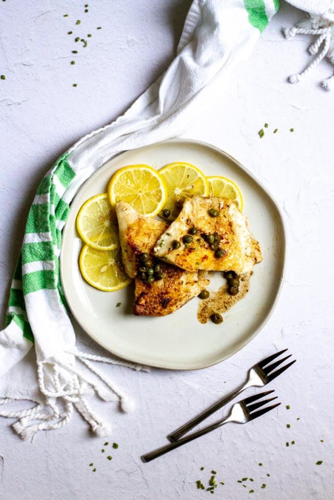 pan-seared rockfish on a plate