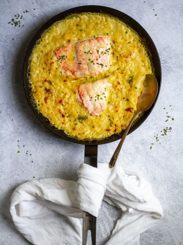 Salmon Spaghetti Squash Bake (after baking)