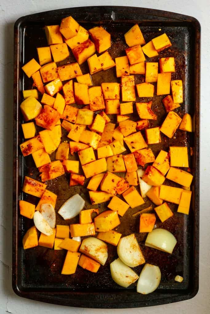 Toss Squash + Onion in Oil + Spices