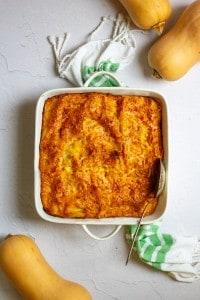 butternut squash lasagna in a casserole dish