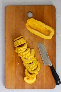 Halve Delicata Squash, Remove Seeds + Slice