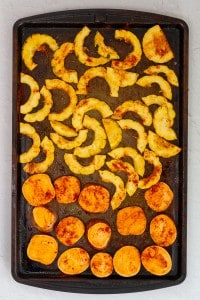 Toss Squash + Potato in Seasonings