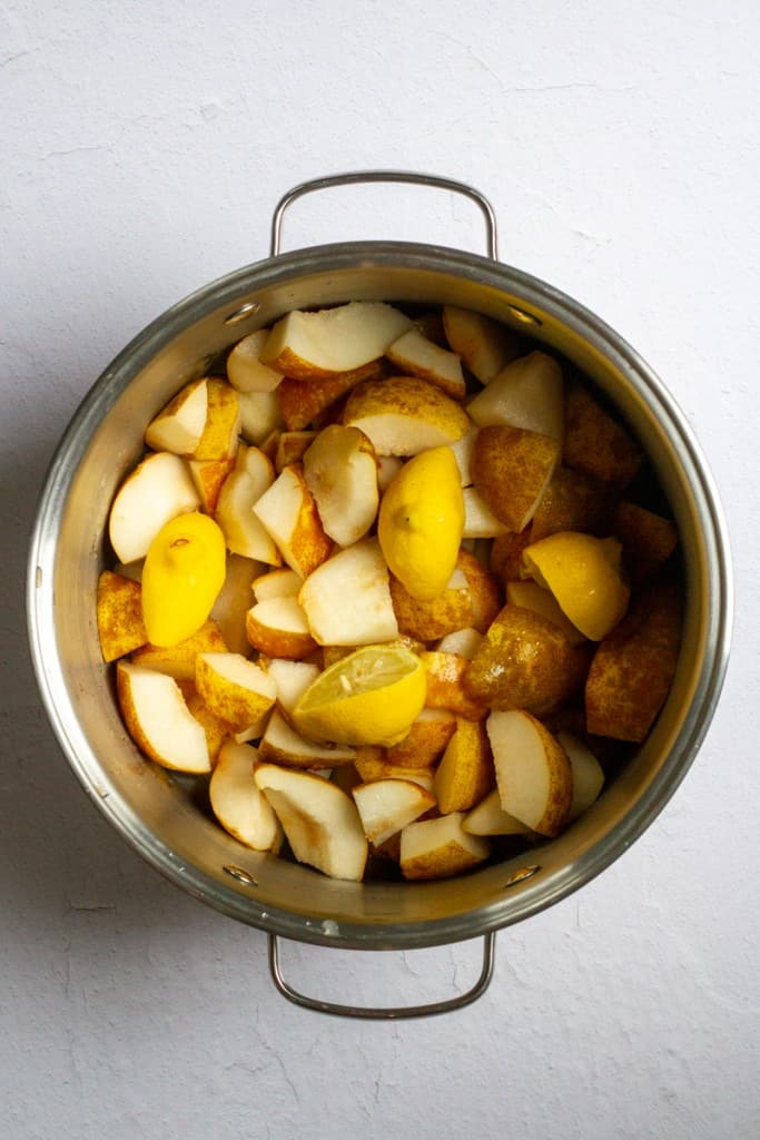Add Pears, Lemons + Cardamom to Pot