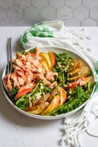 Salmon kale salad with tahini dressing