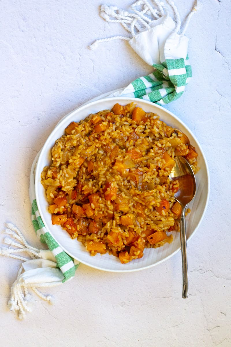 vegan Butternut Squash Risotto in a serving dish