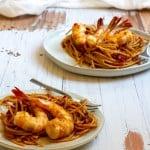 shrimp fra diavolo on plates