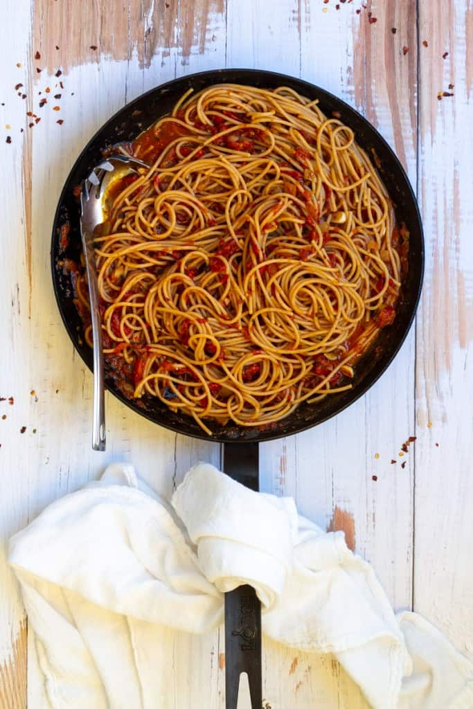 Fra Diavolo Sauce in a Pan with Pasta