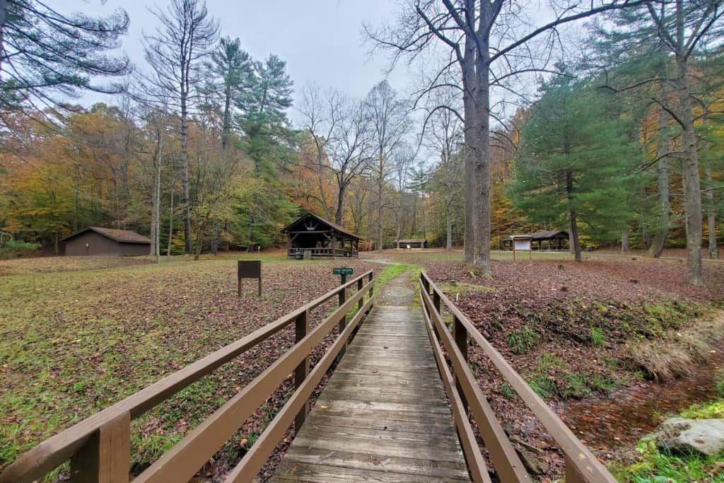 Picnic Shelter Area in Kanawha State Forest Campground