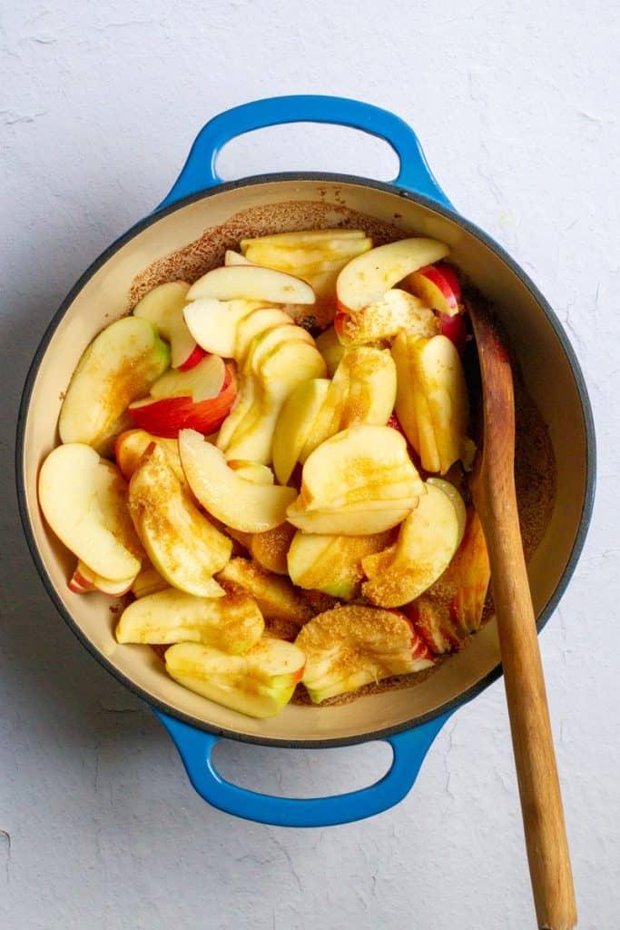 Add Bourbon + Sugar to Apples