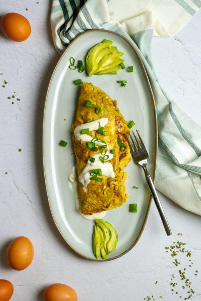 Crab Omelette on a serving platter
