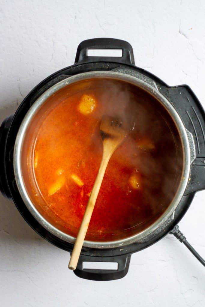 Add Broth to Kimchi
