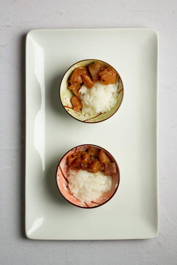 Add Rice + Tuna to Bowls