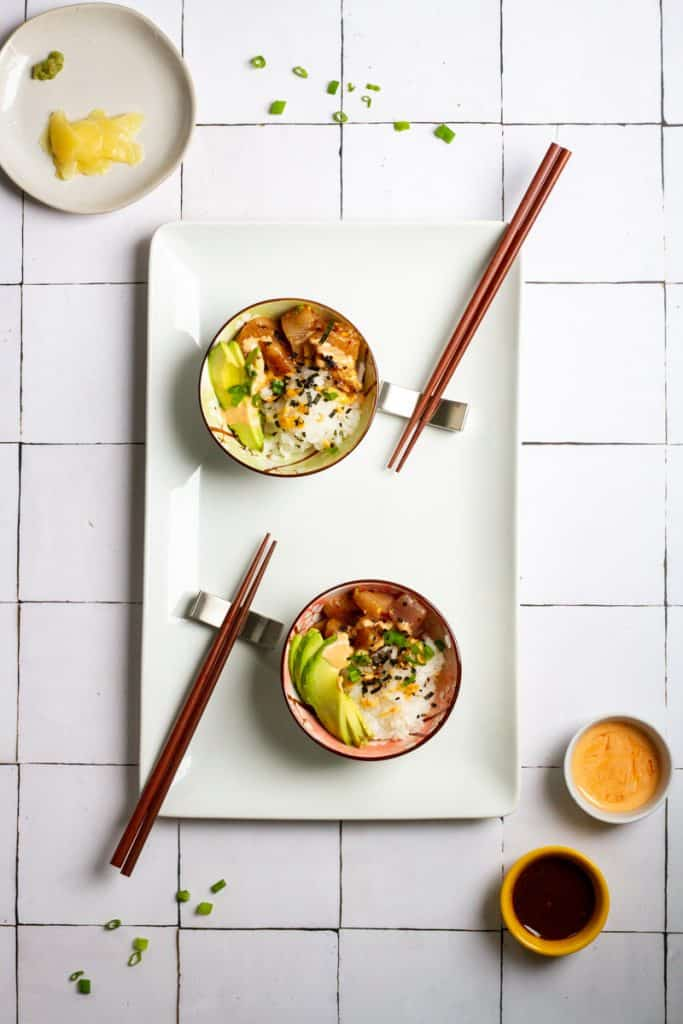 Spicy Tuna Poke Bowls on a Bessie Bakes Moroccan Tile Board