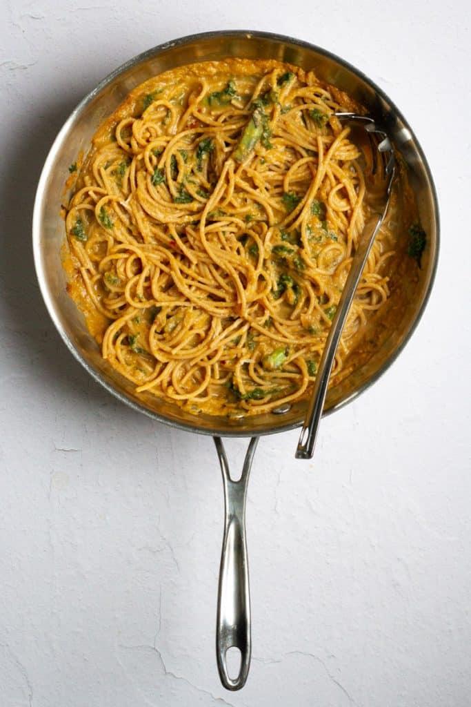 Toss Pasta with Sauce, Kale + Parmesan