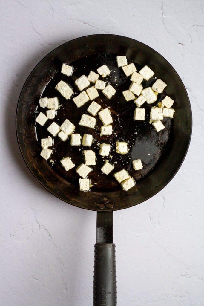 Add Tofu to a Hot Pan