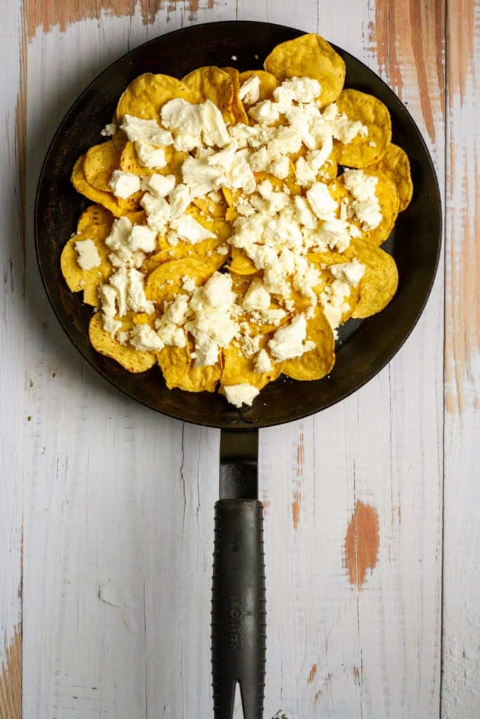 Add Chips + Cheese to Pan