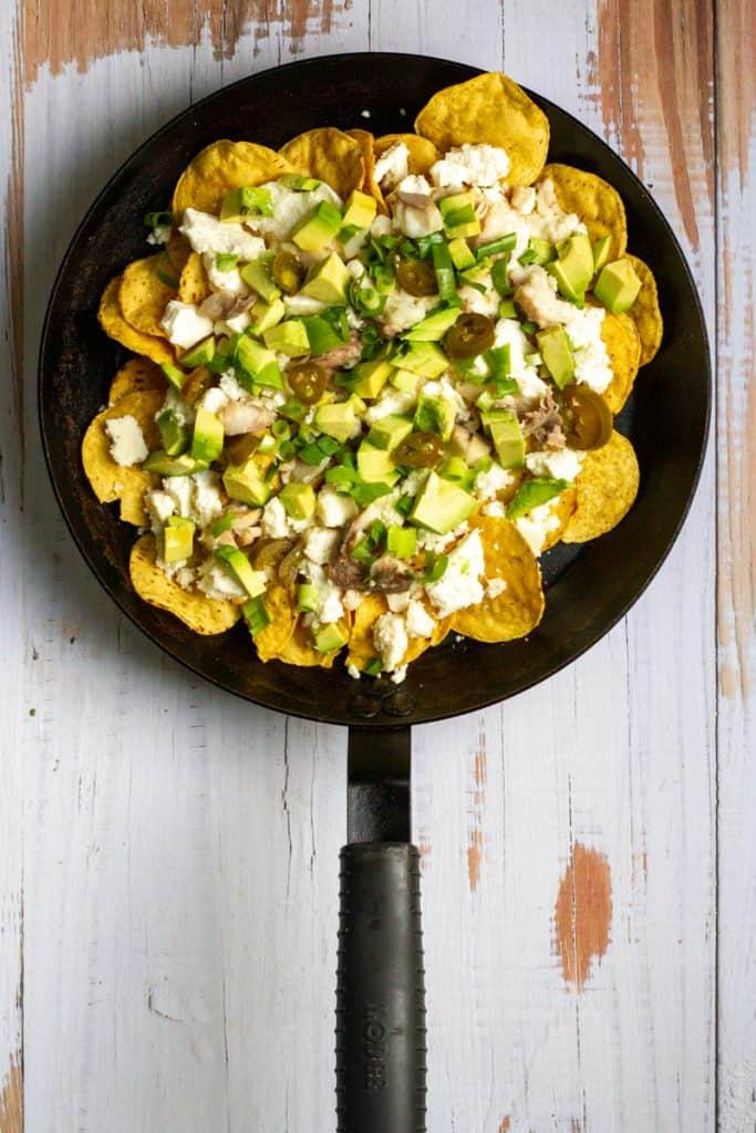 Add Fish, Avocado, Green Onion + Jalapeños