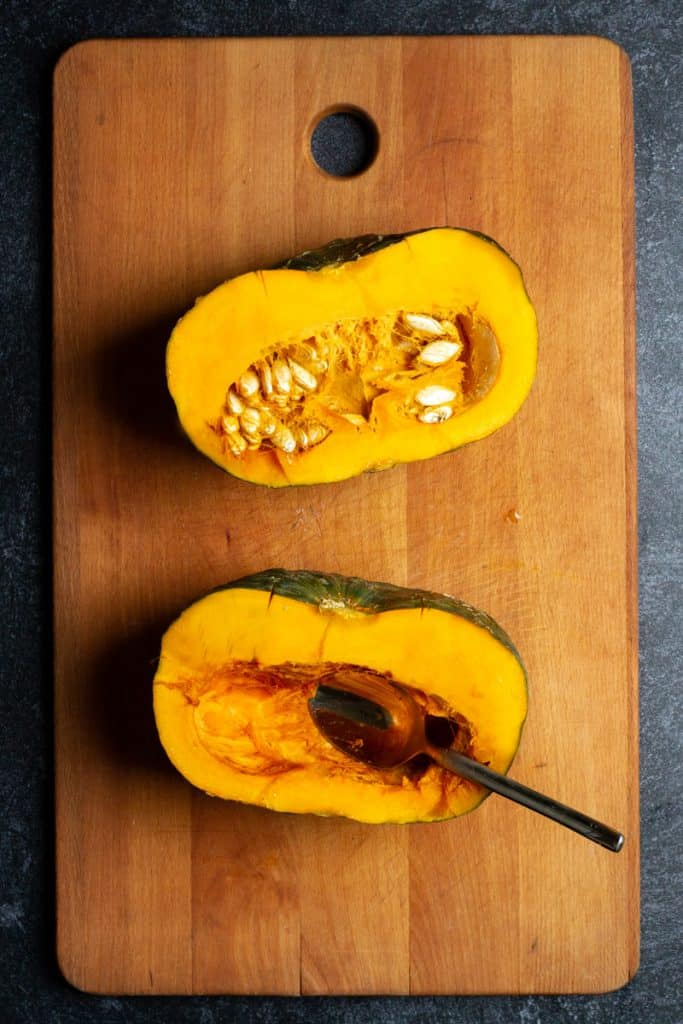 Cut Squash in Half + Scoop Out Seeds