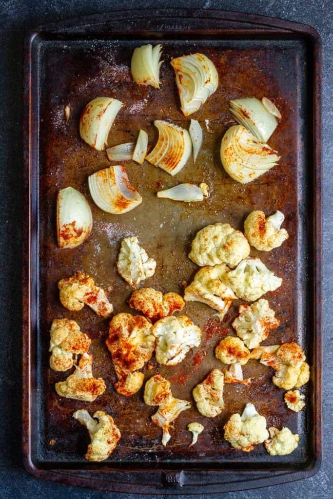 Roast Cauliflower + Onion Until Tender