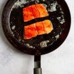Add Salmon Skin-Side Down to Pan
