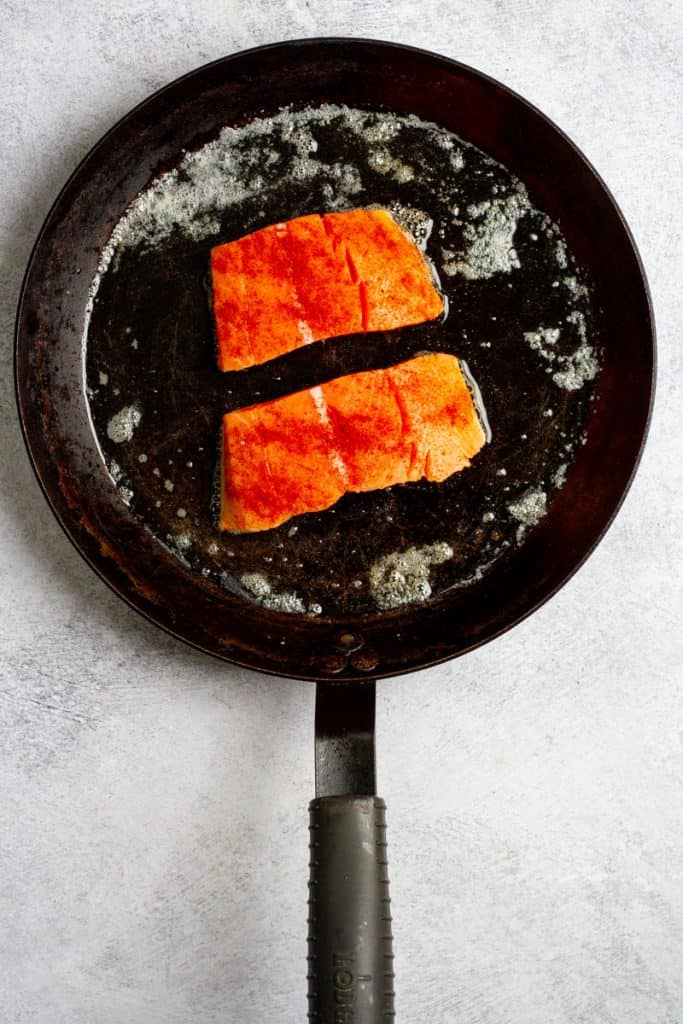Add Salmon Skin-Side Down to Pan