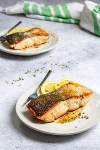 pan-seared salmon on plates