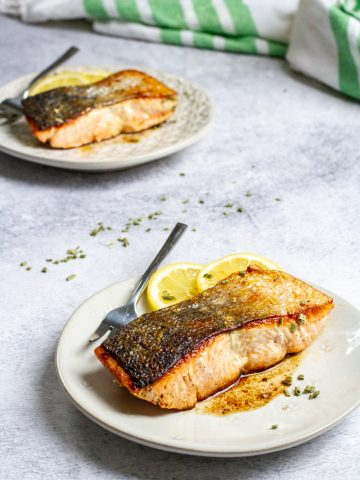 pan-seared salmon on plates